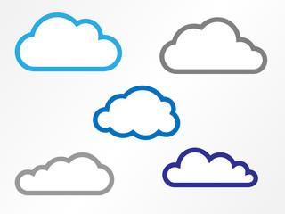 Wolkensymbole mit Rahmen