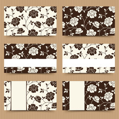 Business cards with brown and white floral pattern. Vector.