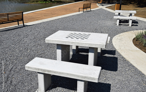Concrete Chess Tables And Benches In The Park
