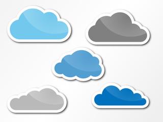 Wolken als Sticker mit Glanzeffekt
