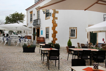 traditional buildings of the tourist area of Faro