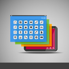 Tablet with Layers and Icons - Business Vector Illustration