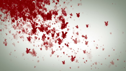 Yen Symbols Red On White Falling