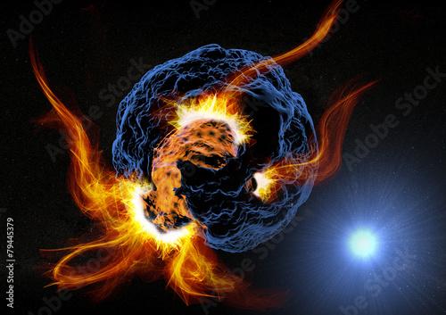 fototapeta na ścianę Pianeta asteroide esplosione w Fiamme