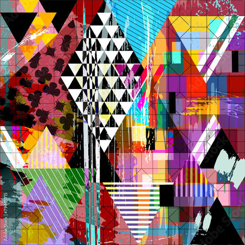 abstract illustration, stripes and triangles