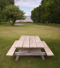 Picnic table in park setting