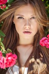beautiful woman in pink flowers