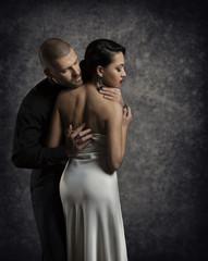 Couple Portrait, Man Woman in Love, Boy in Dark Embracing Girl