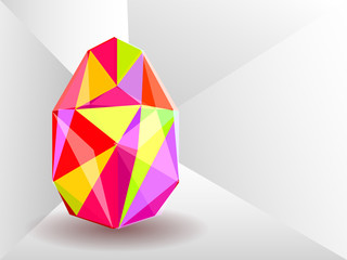 Vector background with Easter egg crystal.