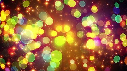 colorful circle bokeh lights and particles loop