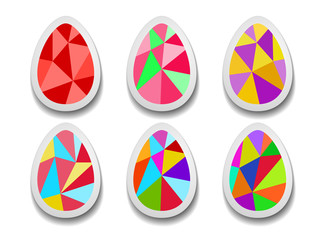 Set of colorful Easter eggs of triangles.