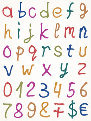 Set of alphabet letters with numbers and other symbols, Vector
