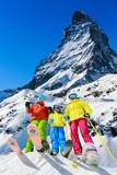 Fototapeta Family winter ski holidays in Zermatt, Switzerland