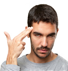 Close up of a guy with suicide gesture