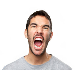 Close up of a guy shouting