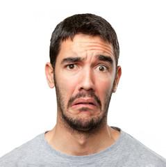Close up of a concerned man