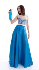 Woman in a blue dress