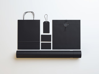 Set of  black  identity elements  on white paper background