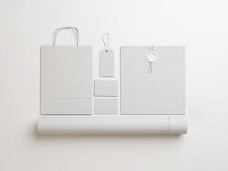 Set of  white identity elements  on white background