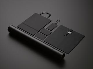 Set of  black branding elements  on black paper background