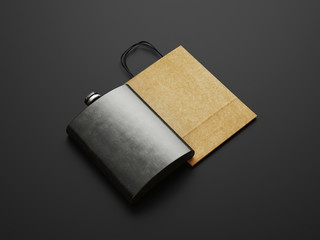 Flask and bag of craft paper