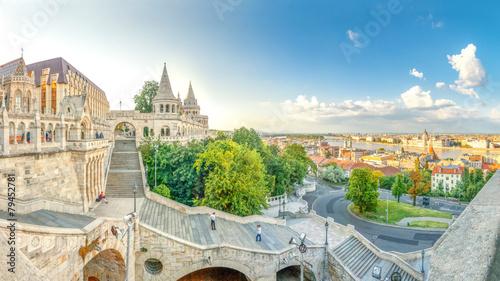 Staande foto Europa Budapest, Fischerbastei, Panorama über Budapest,