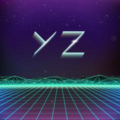 80s Retro Futurism Geometric Font from Y to Z
