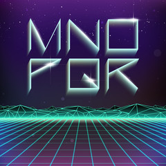 80s Retro Futurism Geometric Font from M to R