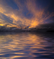 beautiful sunset sky and water level