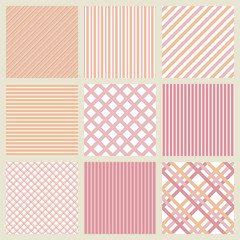 Set of pink seamless geometric striped patterns