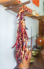 Bunch of dried red chili peppers.