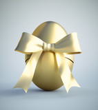 Goldenes Osterei  mit Schleife - 79453997