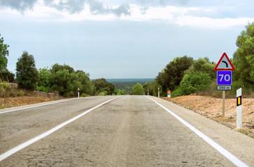 Empty asphalt road in summer.