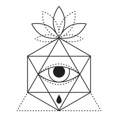 Geometric hipster tattoo design with eye, triangle