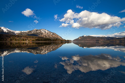 Foto op Canvas Reflection in Walchensee, German Alps, Bavaria, Germany