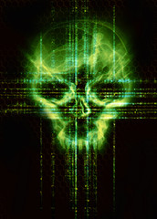 digital background with green skull hacker attack concept