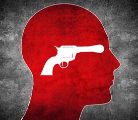 red silhouette head with white  gun