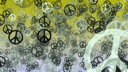 Abstract variables Peace symbols on yellow