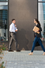Businesspeople walking on the street