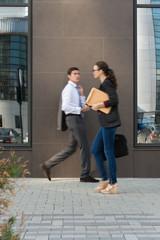 Businesspeople walking on the street
