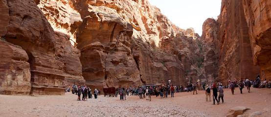 The 1.2km long path (As-Siq)  to the city of Petra, Jordan