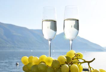 Champagne and grapes. Lake Maggiore, Switzerland
