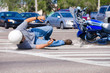 Motorcycle Wreck in Busy Intersection - 79457359