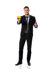 Businessman taking his personal card.