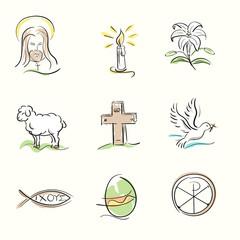 Set of Easter Christian symbols and spring illustrations