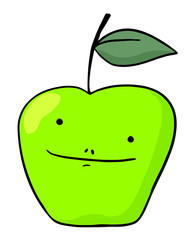 funny green apple
