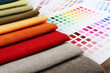 canvas print picture - Scraps of colored tissue with palette close up