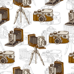 Vintage Seamless Background with Retro Camera