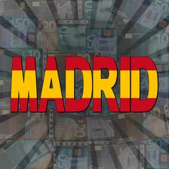 Madrid flag text on Euros sunburst illustration