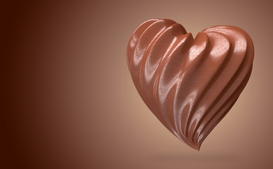 heart shaped chocolate cream